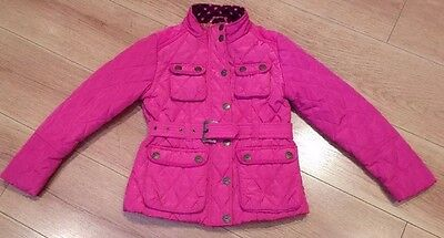 Girls Pink Barbour Style Quilted Belted Coat Jacket From Next Age 7-8 Years
