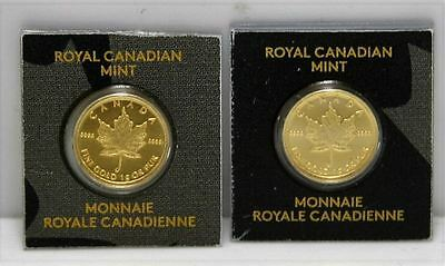 2 x 1g Canadian MapleGram Gold Coins 24K SEALED