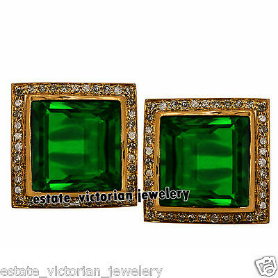Estate Vintage 1.35Cts Rose Cut Diamond Jewelry Emerald Sterling Silver Earring