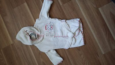 Baby Boys or Girls White Towelling Dressing Gown with Hood 3-6 Months New