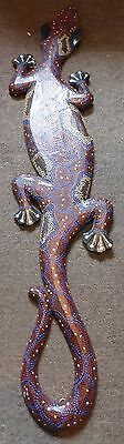 "AUSTRALIAN HAND PAINTED WOOD GECKO LIZARD WALL HANGING PLAQUE 98cm (39"") LONG"