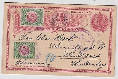 Guatemala Uprated postal Card From Coban To Germany 1904 JBP