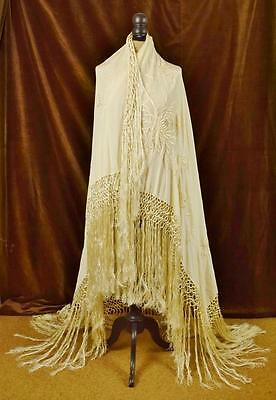 Exquisite Antique French Embroidered Silk Piano Shawl, Tasselled Fringe - B656
