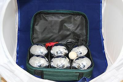 Boules Set of 6 Chrome Carry Case Green Distance Measure Magnetic Boule Lifter