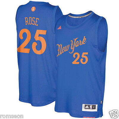2016~2017 Christmas Edition New York Knicks #25 Derrick Rose Blue Jersey