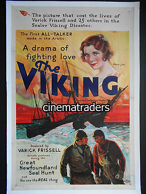 THE VIKING (1931) Stone Litho Linen Backed Movie Poster. Canada's first talkie!