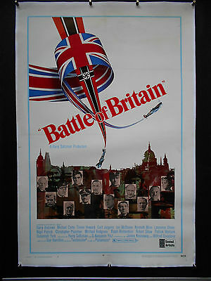 BATTLE OF BRITAIN Original 1969 Movie Poster Linen backed STYLE B RAF Spitfire