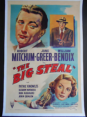 THE BIG STEAL Robert Mitchum 1949 Linen-backed Movie Poster Jane Greer FILM NOIR
