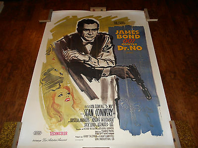 DR NO JAMES BOND Movie Poster Linen backed R70s French SEAN CONNERY