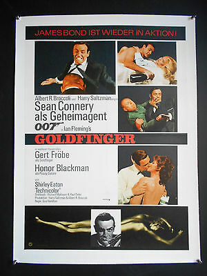 "James Bond GOLDFINGER Poster 1970's Linen-backed German A1 Poster 23"" x 33"""