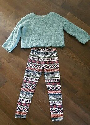 Girls age 9 to 10 fluffy top and aztec leggings bundle