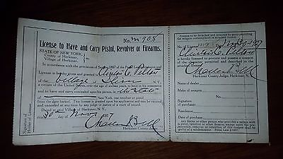 Vintage 1927 License Permit To Have & Carry Pistol Revolver Firearms ILLION NY