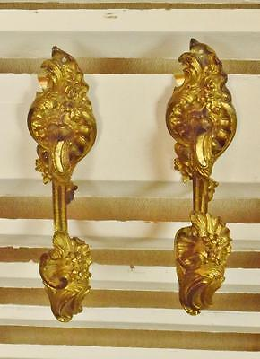 Fabulous Pair Antique French Ormolu Curtain Tie Backs, 19thC Chateau Chic - B660