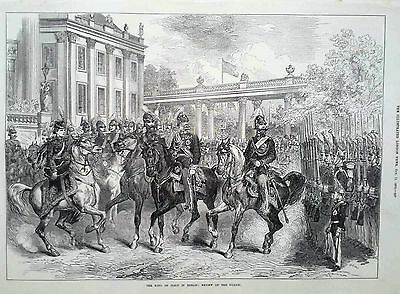 1873 Print The King Of Italy In Berlin : Review Of The Guards