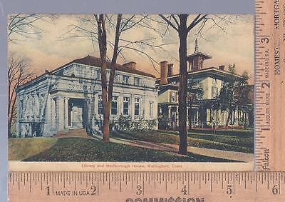 1908 used post card  Library &  Marlborough House Wallingford, CT