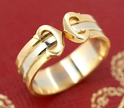 Cartier Double C Tri-Color Band Ring size 54 US7 18k Gold 750 w/BOX #91