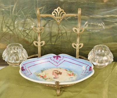 Divine Antique French Brass & Porcelain Pen Stand With Glass Ink Wells, 19th C