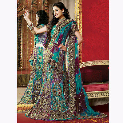 Bridal Lehenga Bollywood Indian Wedding Party Wear Unstiched Choli Freeshipping