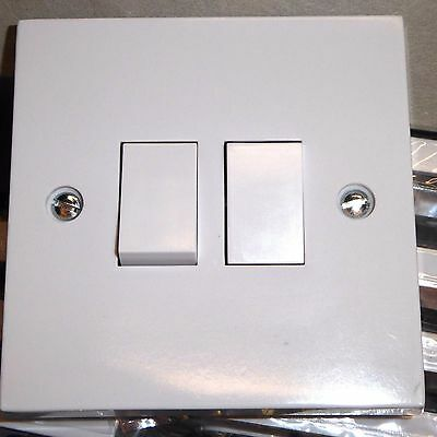 10 x 2 gang 2 way light switch standard white 10A lightswitch square edge New