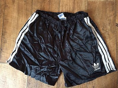 Vintage Adidas Sports Shorts 80s Boxer Retro Running Jog Black D7 W36 Large Sun