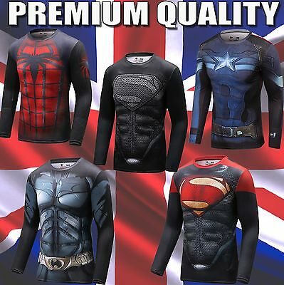 Mens Marvel Compression Armour Base Layer Gym Top Superhero Cycling T-shirt