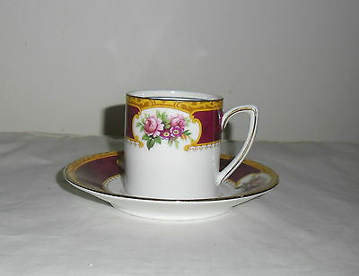 ANTIQUE GRAFTON  CHINA DEMITASSE COFFEE CUP AND SAUCER SET : c1900 1913