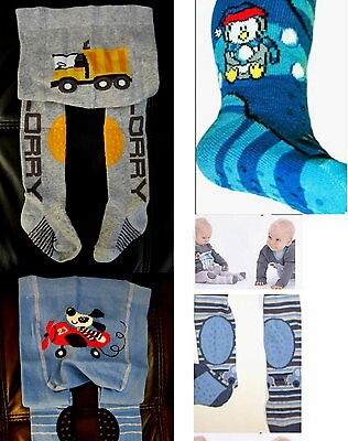 Baby Boy Crawling Anti slip Tights ABS Rubberised Knee Instep Sole  6-9-12M