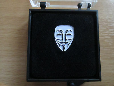 Anonymous Mask Lapel Pin-Plated Metal  and Enamel  Badge- Boxed -L037B