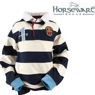 BNWT Horseware Newmarket Ladies Fitted Rugby Shirt White Blue 14 RRP £40