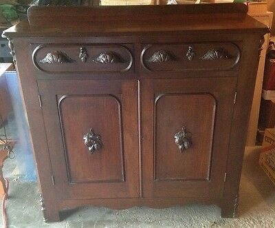 Vintage Buffet Sideboard Walnut carved handles  BEAUTIFUL piece