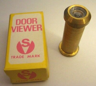 Solid brass vtg peephole Door Viewer SV200 trade mark 1 3/8'' - 2 1/4'' thick