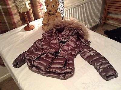 Zara Girls Dark Silver Fur Hooded Padded Coat Age 3-4 Years Gorgeous