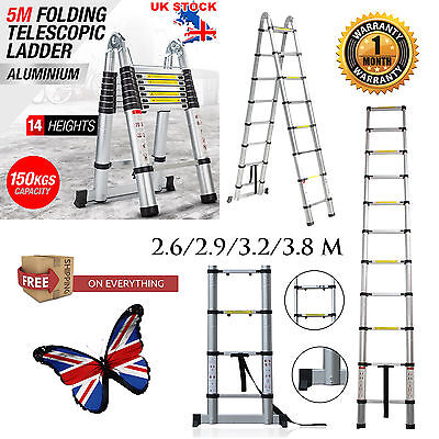 2.6M 3.2M 3.8M 5M Multi-Purpose Aluminium Telescopic Ladder Extension Extendable