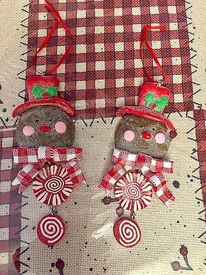 Gingerbread Cookie Peppermint Ornament Set Of 2 New