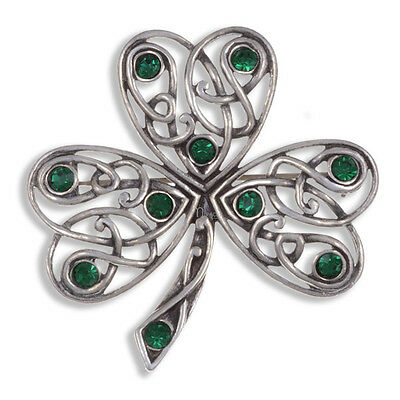 Irish Shamrock Brooch in antique Pewter by Miracle Jewellery MBP370E