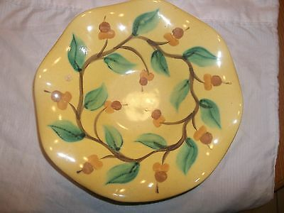 Large Gail Pittman Signed Ruffled Edge Handpainted Pottery Bowl Floral Flowers
