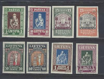 LITHUANIA 1933 CHILD WELFARE FUND POSTAGE IMPERFORATE USED SET SG373/380 cat £34