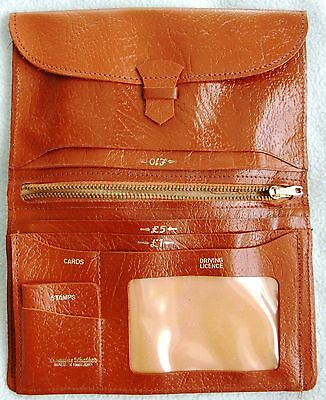 Vintage Retro 1970s Brown LEATHER Organiser Style PURSE - Loads Of Compartments
