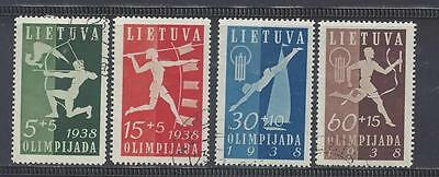 LITHUANIA 1938 FIRST NATIONAL OLYMPIAD FUND SET OF 4 USED SG420/423  cat £70