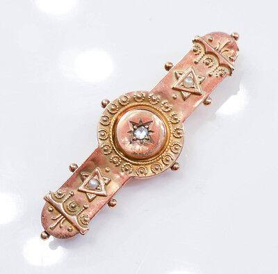 C426 Pretty Vintage 9K Yellow GOLD brooch with DIAMOND & PEARLS 1.6g