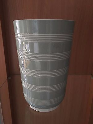 Art Deco Wedgwood pottery Keith Murray tall ribbed green & white vase 20.5cms