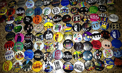 """Lot of 100 THE BEATLES collectible buttons/pinbacks/badges john lennon 1.25"""""""