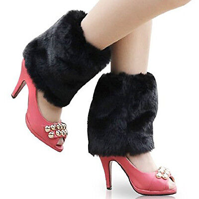 Women Ladies Boot Fluffy Soft Furry Faux Fur Leg Warmers Toppers Black