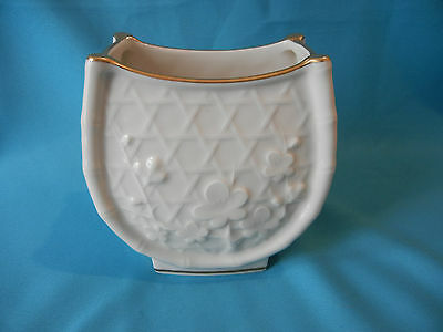 Vintage Noritake Ivory China Vase #21 Ivory White Bamboo with Gold Trim