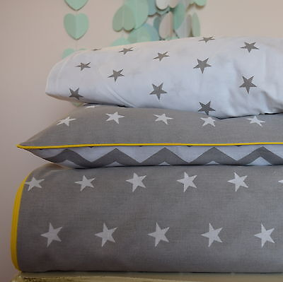 100%COTTON Cot Bed Duvet Cover Set  Grey  Stars Chevron baby yellow piping