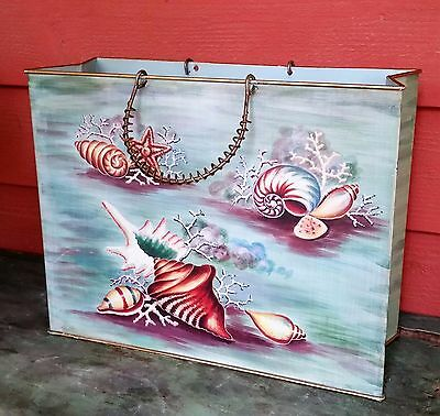 Vtg BEACH Cottage Painted Shell TURQUOISE Metal Tole Magazine Holder Rack CADDY