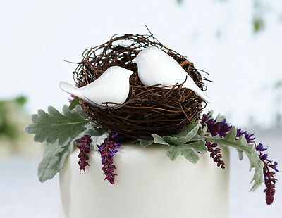 White Pair of  Love Birds Wedding Cake Pick Topper  Anniversary or Engagement SF