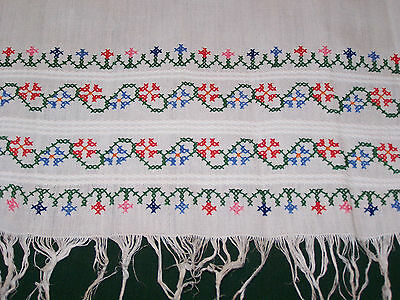 SPECTACULAR VINTAGE EMBROIDERED LINEN SHOW TOWEL, c1920, STUNNING EMBROIDERY