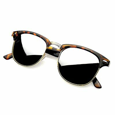 Retro Fashion Half Frame Flash Mirror Lens Sunglasses Mirrored Shades