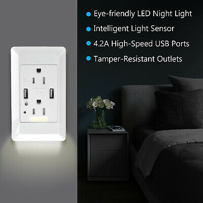 Dual USB Port Outlet 4.2AMP Night Light Fast Charging Socket Adapter Receptacle